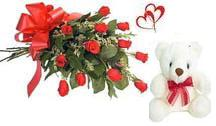 12 Red Roses bunch with 6inch Teddy bear