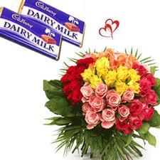 40 Mix roses bouquet with  18gms 2 Cadbury chocolate