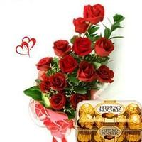 15 Red Roses Bouquet with 16 pcs  Ferro rocher
