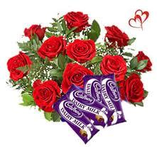 12 Red Roses with 18gms 4 Cadbury chocolate