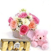 12 Mix Roses with 16 pcs Ferro rocher,6inch Teddy bear,Greeting card