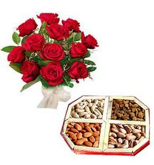 12 Red Roses bouquet with 500gms  Dry fruits