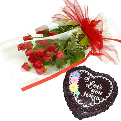 12 Red Roses wrapped with a cellophane paper,1kg Heart shape Chocolate cake