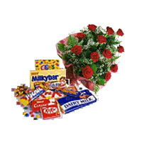 12 Red Roses bouquet with 2 Cadbury chocolates