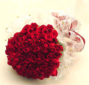 50 Red Roses packed in a cellophane paper with ribbon