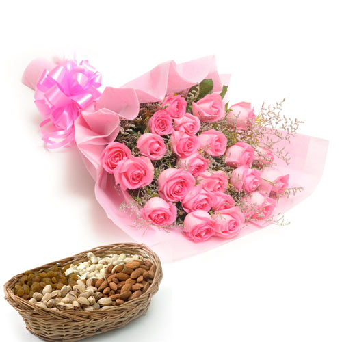 25 Pink Roses wrapped in a colour paper with 1kg Dry fruits of large basket