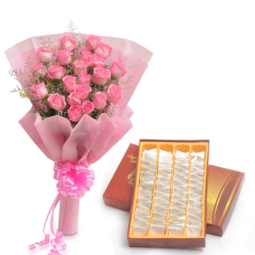 20 Pink Roses wrapped in a colour paper with 500gms Kaju katli