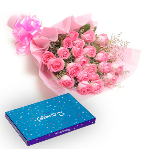 25 Pink Roses wrapped in a colour paper with Cadbury celebration chocolate