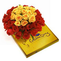24 Red and 15 Yellow Roses bunch with Cadbury celebration chocolate