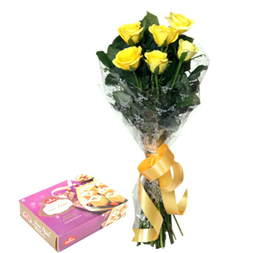 6 Yellow Roses bunch with 250gms Soan papdi