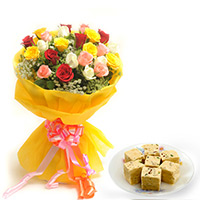 25 Mix Roses wrapped in a colour paper with 500gms Soan papdi