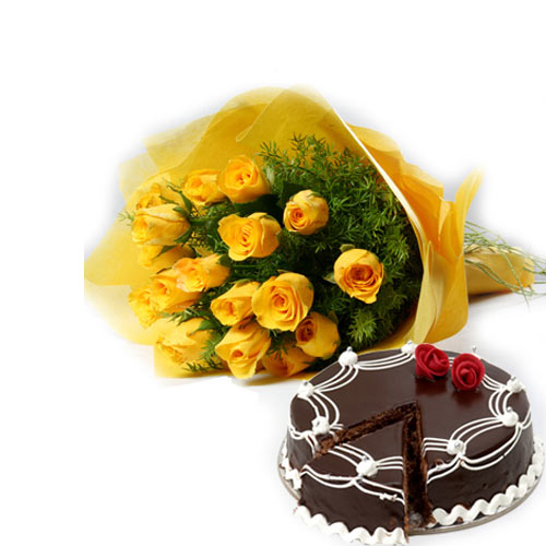 Yellow Roses bunch 500gms Chocolate cake