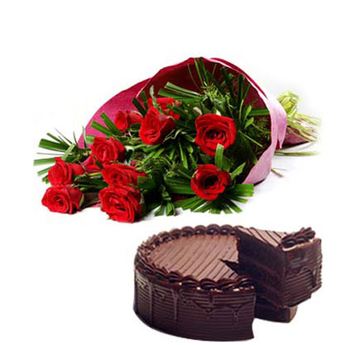10 Red Roses wrappedin a colour paper with 500gms Chocolate cake