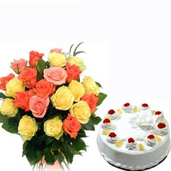 20 Mix Roses bunch with 1kg Pineapple cake