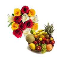 5 Red 4 White 4 Yellow Roses bunch with 1kg Fresh fruits