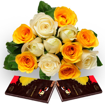 6 White and 6 Yellow Roses wrapped in a cellophane paper with 80gms Cadbury chocolate bournville