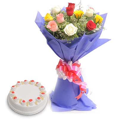 Mix Roses wrapped in a colour paper with 500gms Pineapple cake