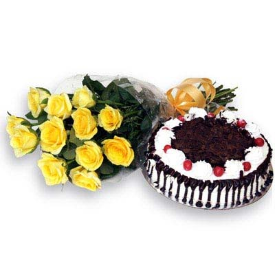 12 Yellow Roses wrapped in a cellophane paper with 500gms Black forest cake