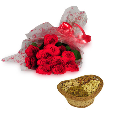 12 Red Roses wrapped in a cellophane paper with 1kg Dry fruits small basket