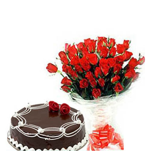 20 Red Roses wrapped in a cellophane paper with 500gms Chocolate cake