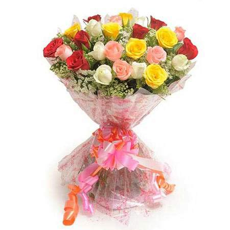 25 Mix Colour Roses wrapped in a cellophane paper with ribbon