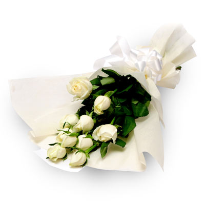 10 White Roses wrapped in a colour paper with ribbon