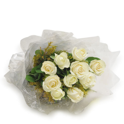 10 White Roses wrapped with a cellophane paper